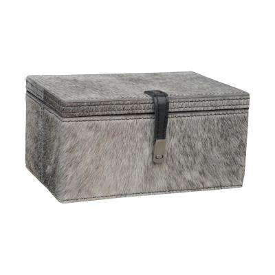 8 in. x 4 in. Grey Hair-on Leather Decorative Box