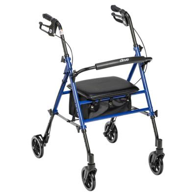 Adjustable Height Rollator Rolling Walker with 6 in. Wheels, Blue