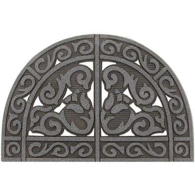 All Seasons Tulip Scroll Granite 24 in. x 39 in. Door Mat
