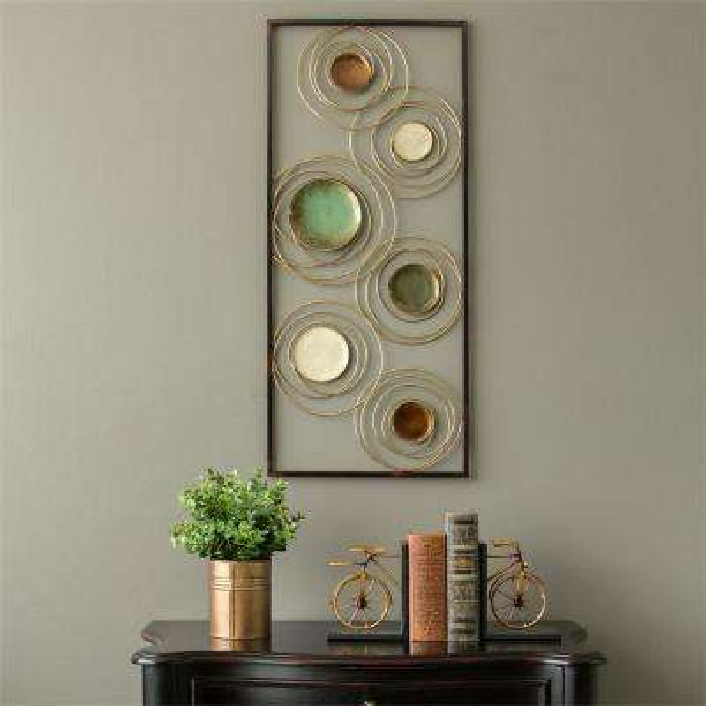 Geometric Metal Rings Panel Wall Decor