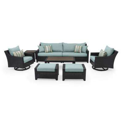 Deco 8-Piece Motion Wicker Patio Deep Seating Conversation Set with Bliss Blue Cushions