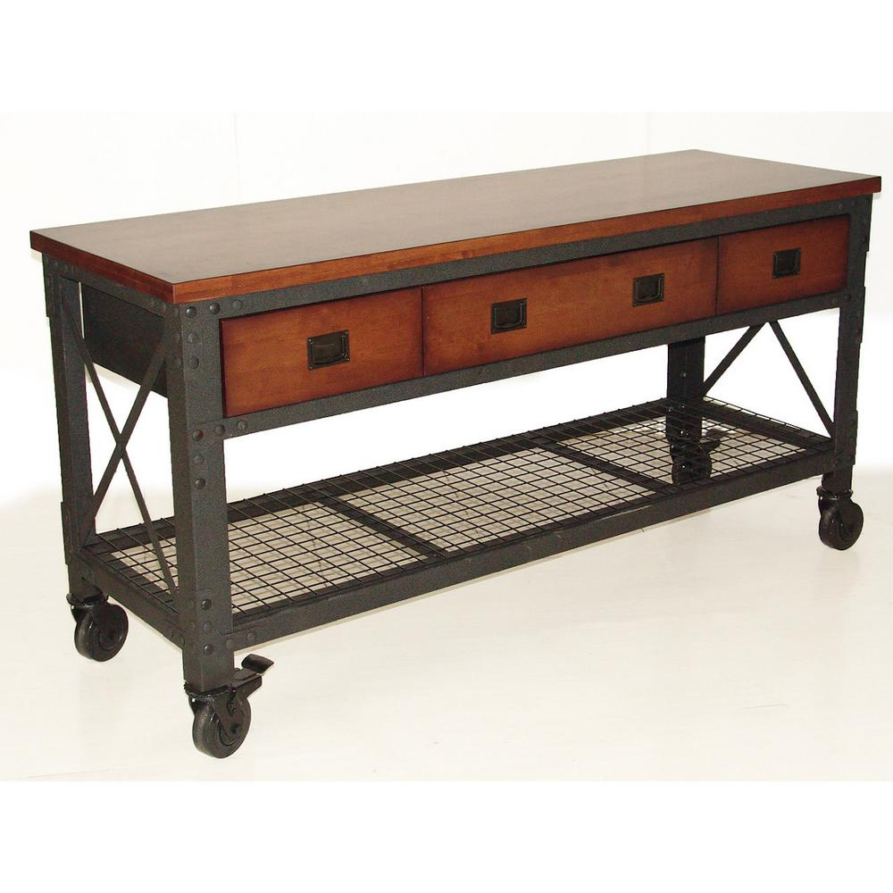 Duramax Building Products 72 in. x 24 in. with 3-Drawers Rolling Industrial Workbench and Wood Top