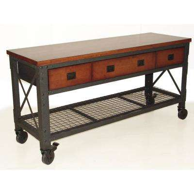 72 in. x 24 in. with 3-Drawers Rolling Industrial Workbench and Wood Top