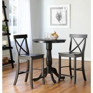 Black Solid Wood Counter Table