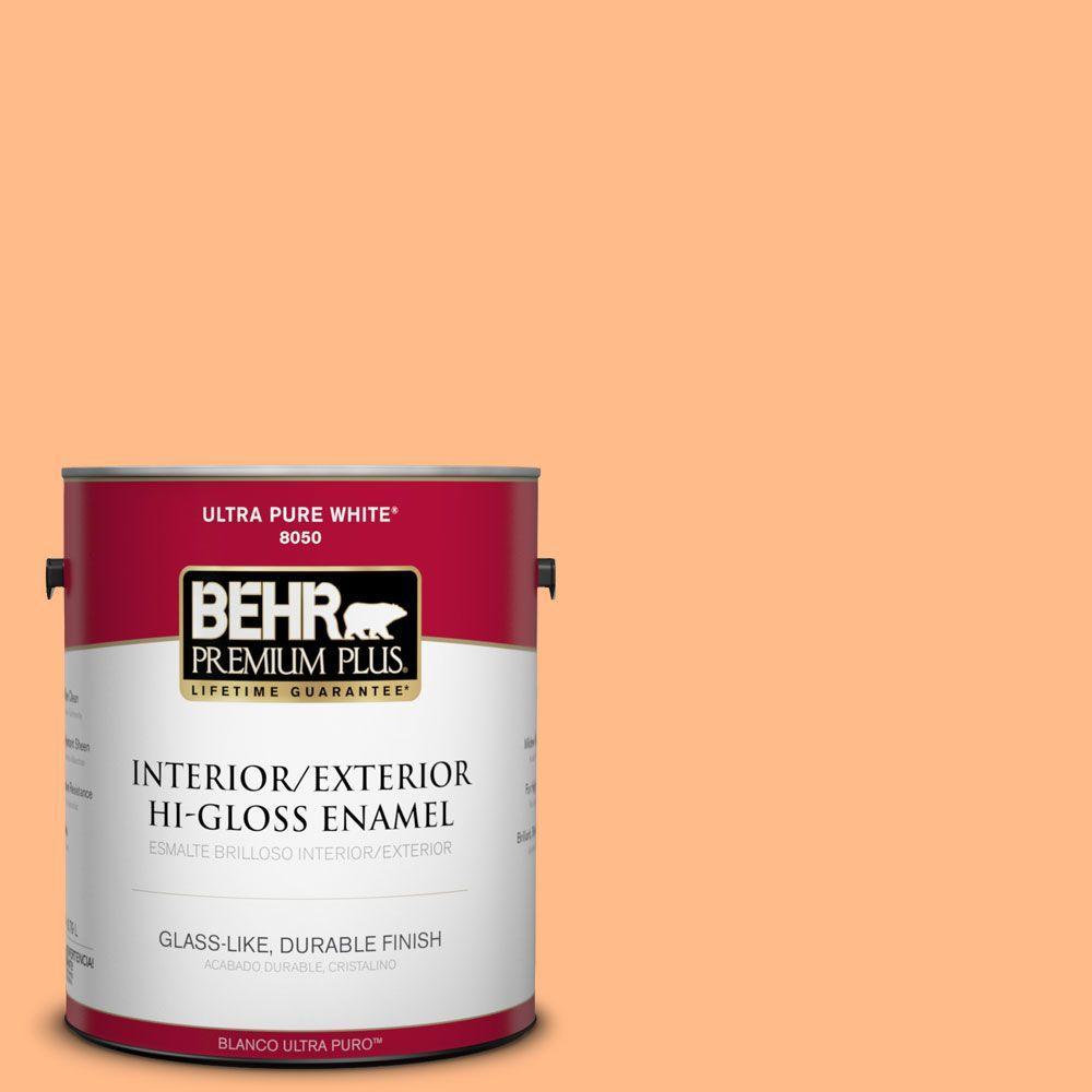BEHR Premium Plus 1-gal. #250B-4 Coral Gold Hi-Gloss Enamel Interior/Exterior Paint