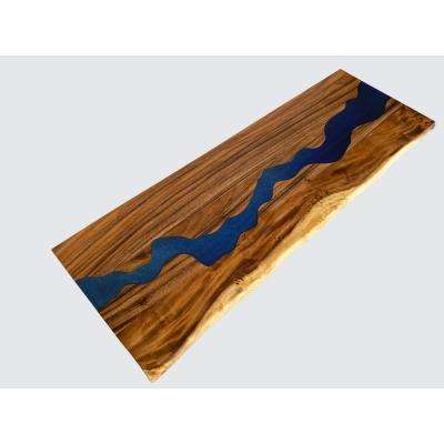 4 ft. L x 2 ft. 6 in. D x 1.5 in. T Butcher Block Counter Top in Finished Saman with Blue Epoxy River Run