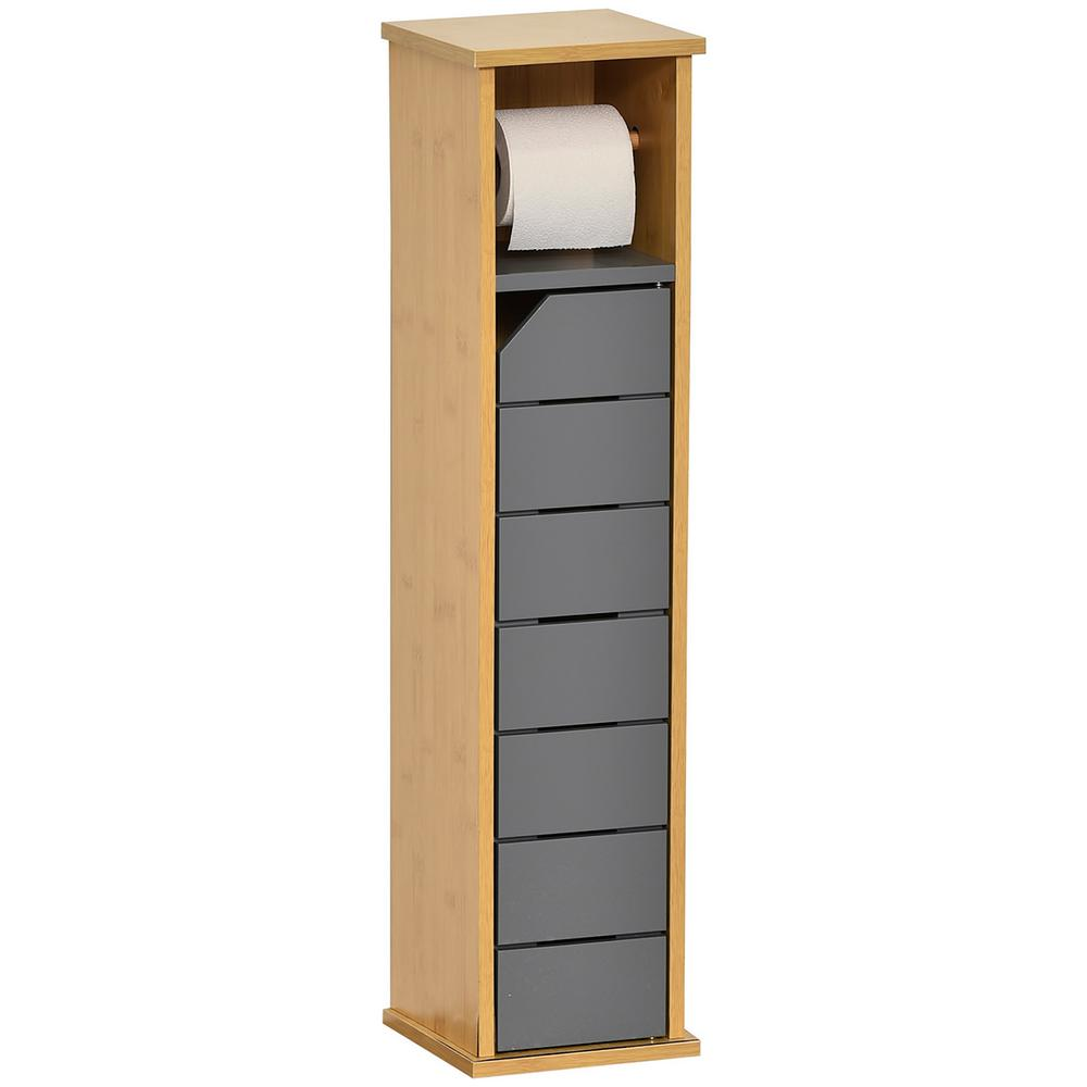 Unbranded 2 In 1 Wood Toilet Roll Holder And Storage Unit Cabinet Noumea In Gray 9912260 The Home Depot