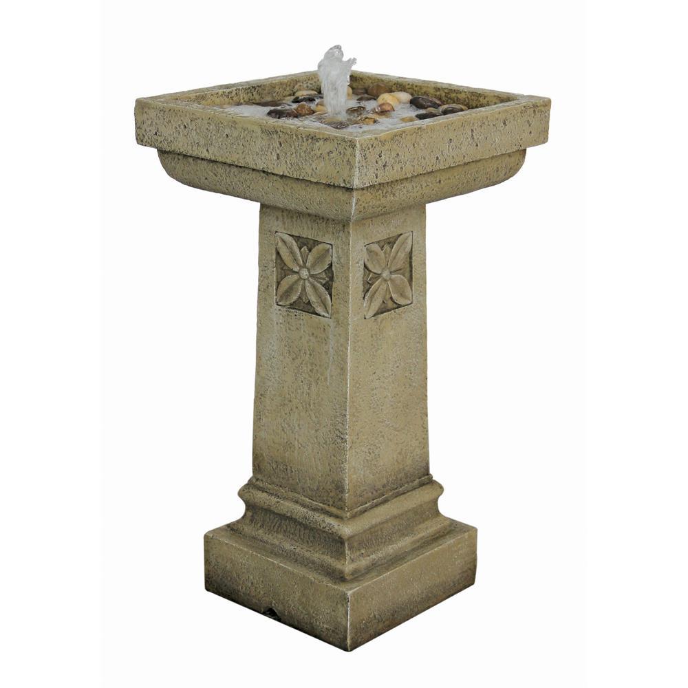 White Chapel Manor Pedestal Stone Bonded Resin Garden Fountain