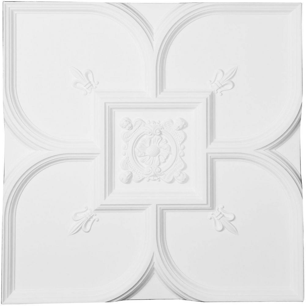 Fleur-de-lis 1.6 ft. x 1.6 ft. Glue Up or Nail Up Polyurethane Ceiling Tile in White