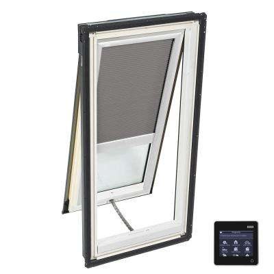 21 in. x 45-3/4 in. Venting Deck-Mount Skylight with Laminated Low-E3 Glass and Grey Solar Powered Room Darkening Blind