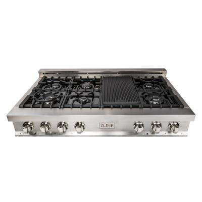 ZLINE 48 in. Stainless Steel/Ceramic Range Top with 7 Gas Burners