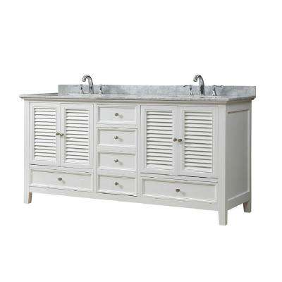 Shutter 72 in. W Bath Vanity in White with Carrara White Marble Vanity Top with White Basins