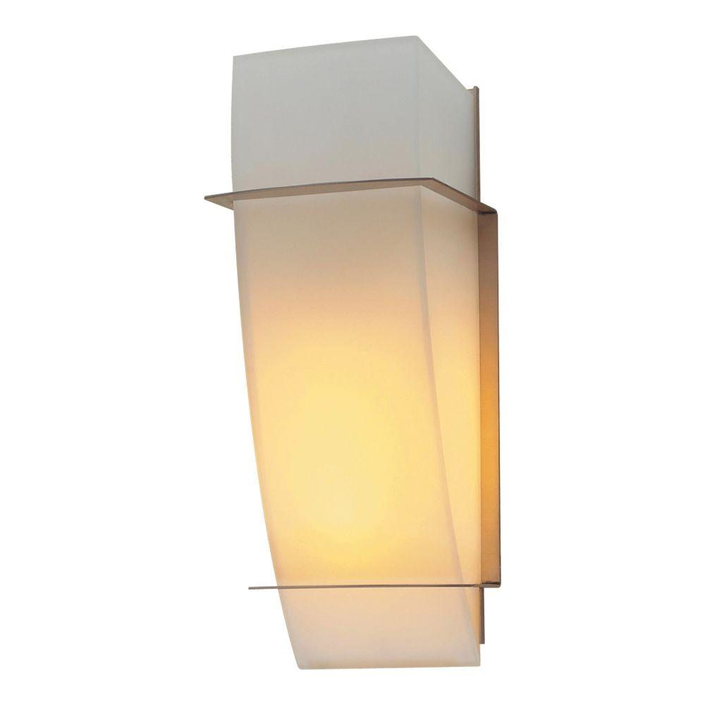 PLC Lighting 1-Light Satin Nickel Sconce with Matte Opal Glass
