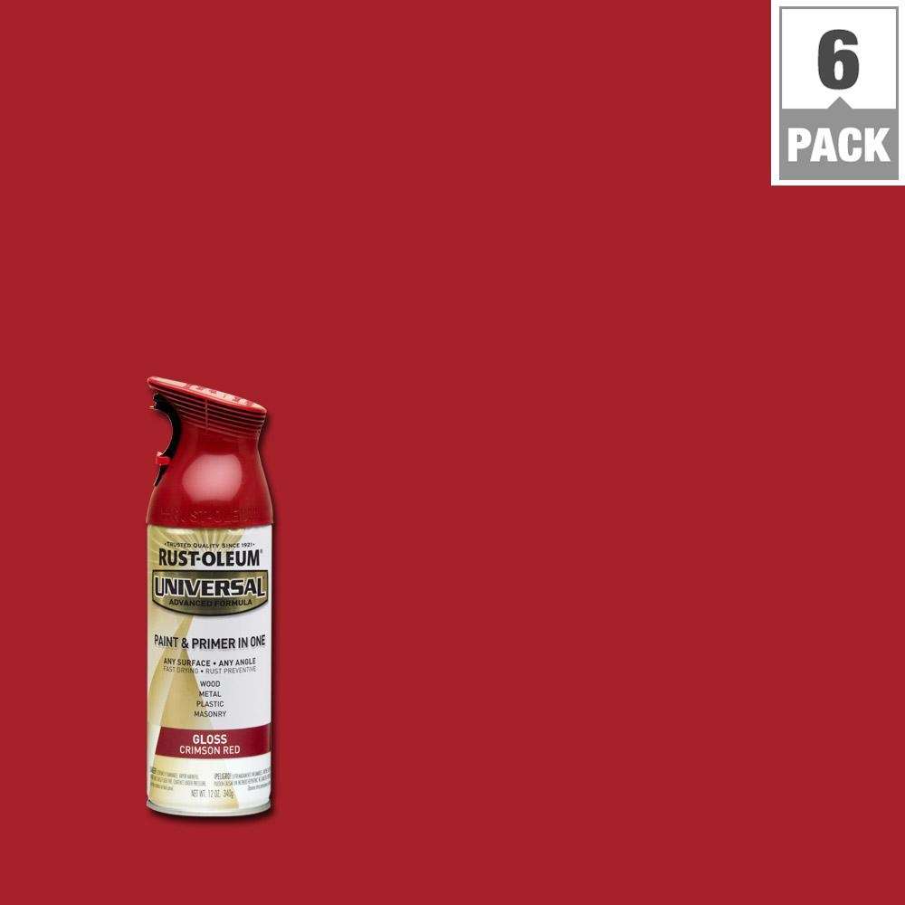 All Surface Gloss Crimson Red Spray Paint And Primer In One 6 Pack