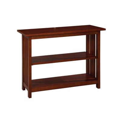 Mission 24 in. Cherry Wood 2-shelf Etagere Bookcase with Adjustable Shelves