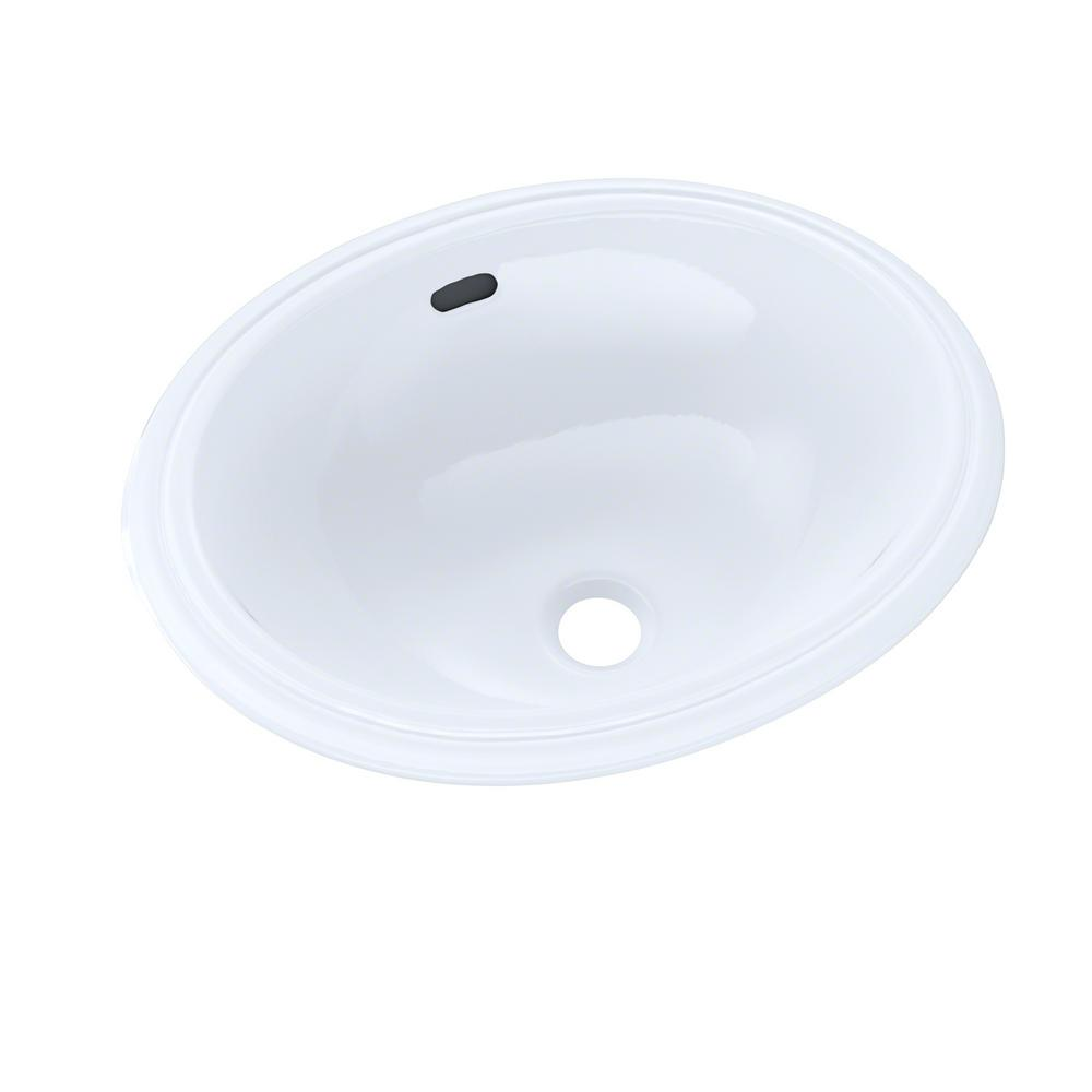Toto 15 In Oval Undermount Bathroom Sink In Cotton White Lt577 01 The Home Depot