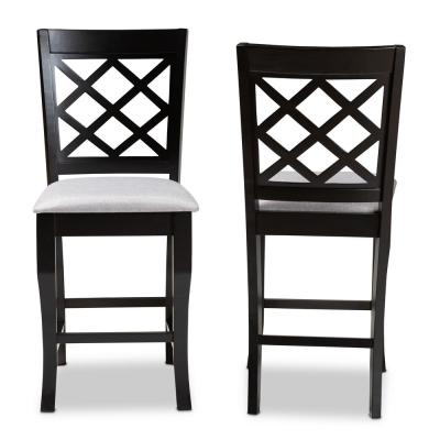 Alora 43 in. Gray and Espresso Counter Stool (Set of 2)