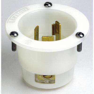 20 Amp 125-Volt Flanged Inlet Grounding Locking Outlet, White