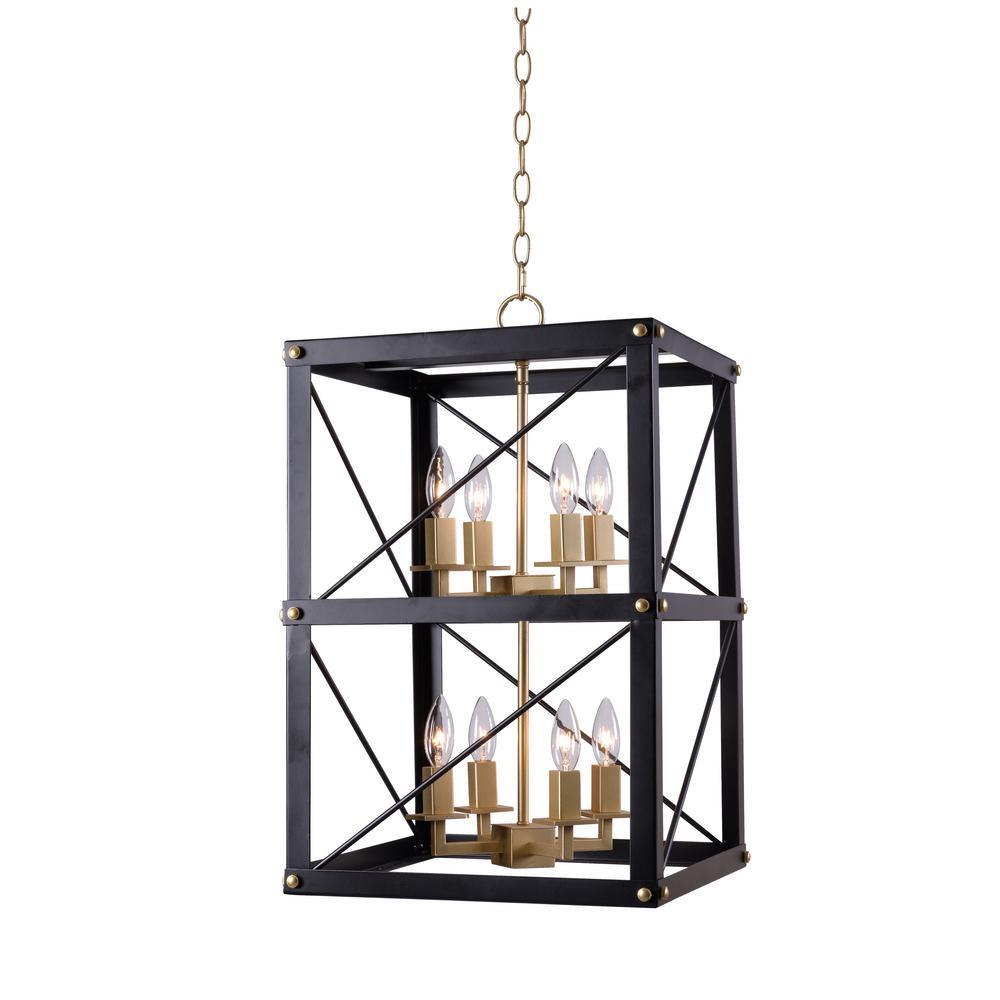 Kenroy Home Courtney 8-Light Black and Gold Chandelier