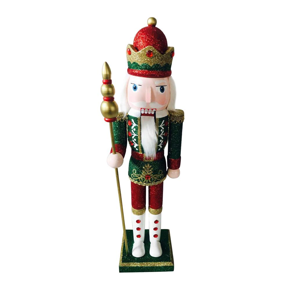 Home Accents Holiday 15 in. Glittered Nutcracker Green