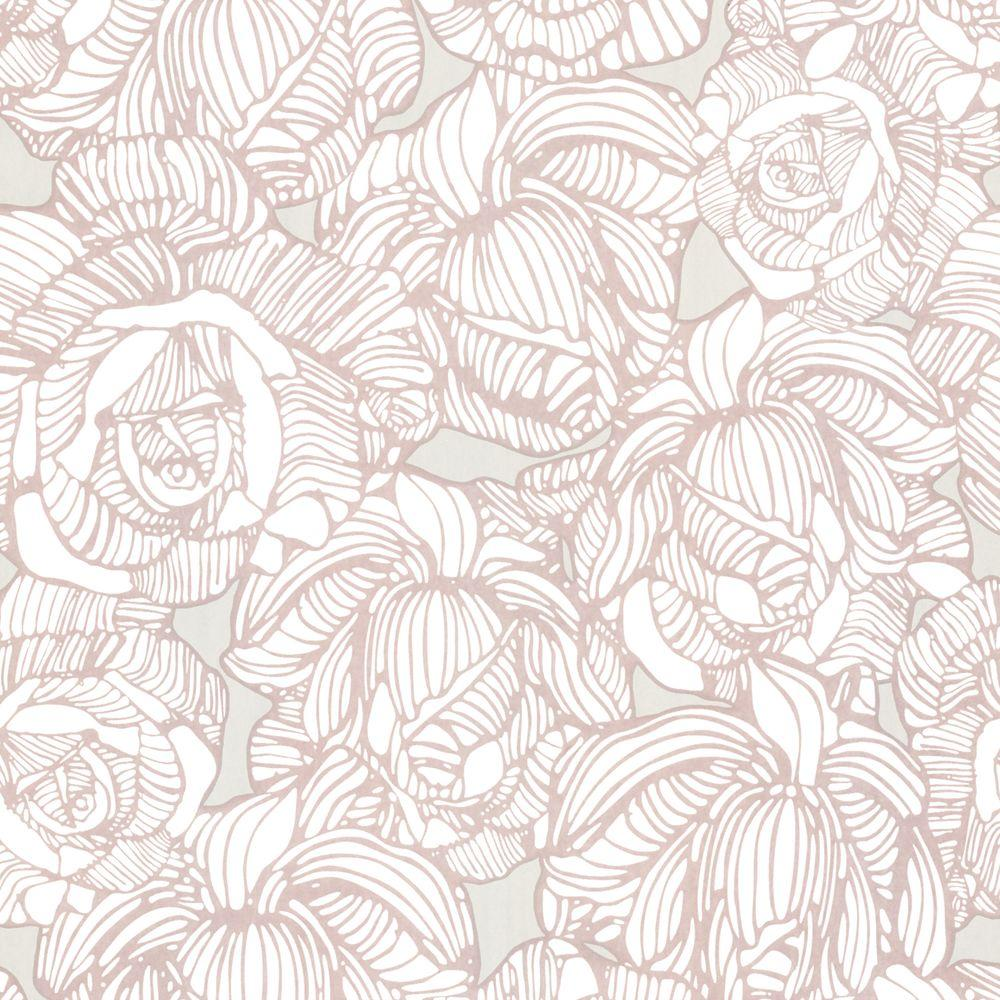 Beacon House Calista Taupe Modern Rose Wallpaper 450 67347 The