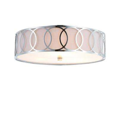 Aubrey 3-Light Chrome 15.5 in. Metal Flush Mount