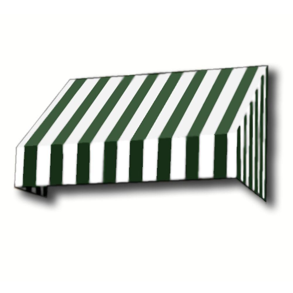 AWNTECH 14 ft. New Yorker Window Awning (44 in. H x 24 in. D) in Forest/White Stripe