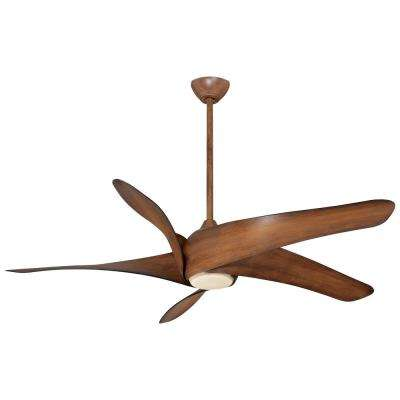 Artemis XL5 62 in. Integrated LED Indoor Distressed Koa Ceiling Fan with Light with Remote Control