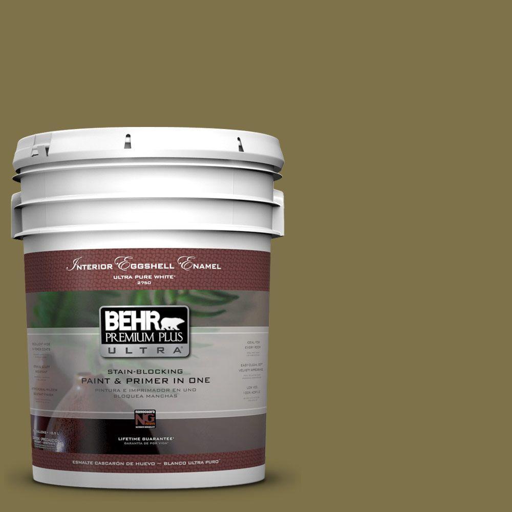 BEHR Premium Plus Ultra 5-gal. #S330-7 Olive Shade Eggshell Enamel Interior Paint
