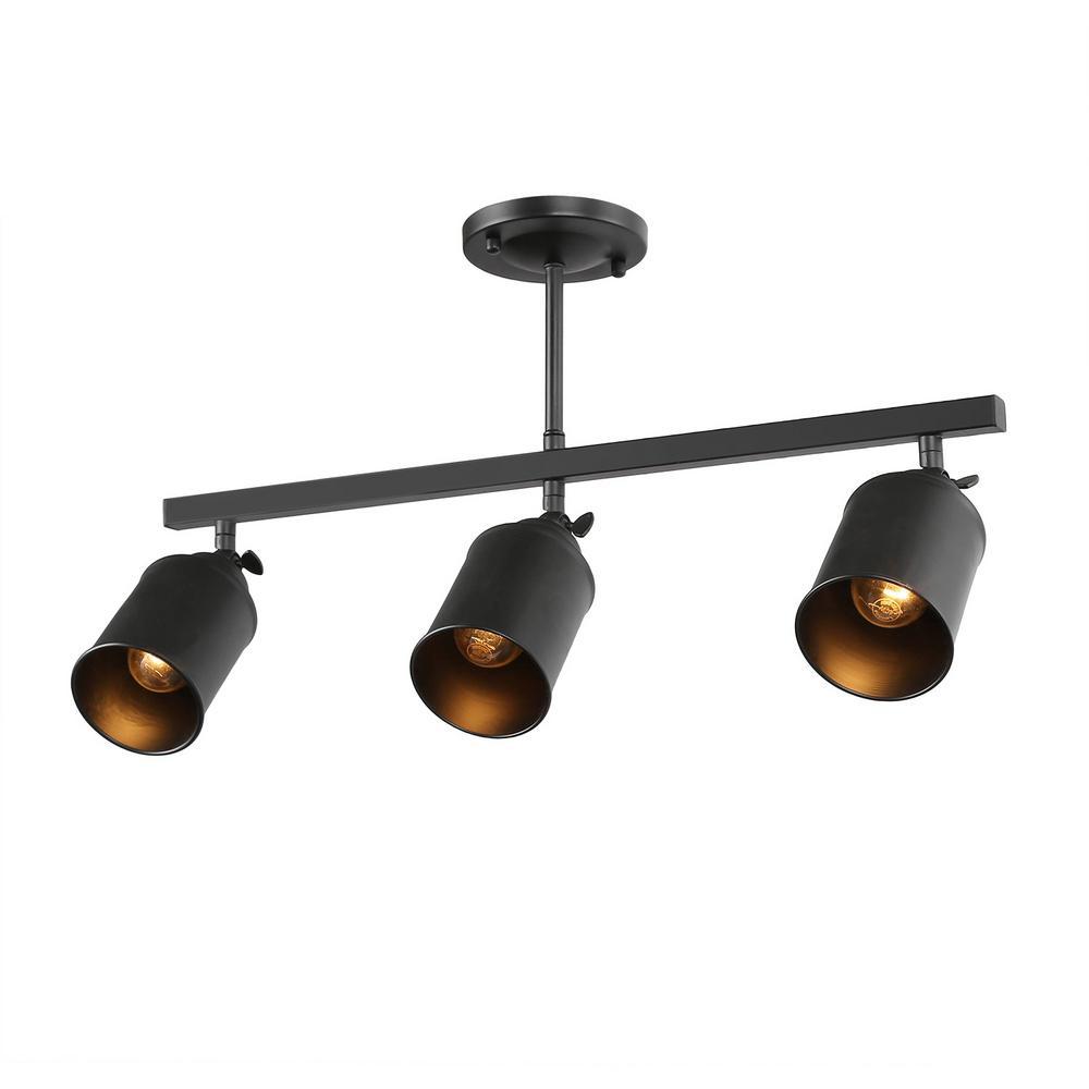 Lnc Chait 1 8 Ft 3 Light Black Fixed Track Lighting Kit