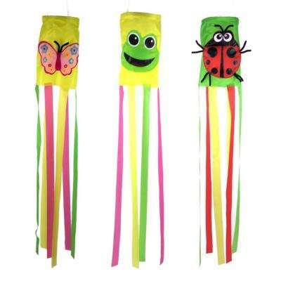 36 in. Multi Color Garden Wind Sock (3-Set)