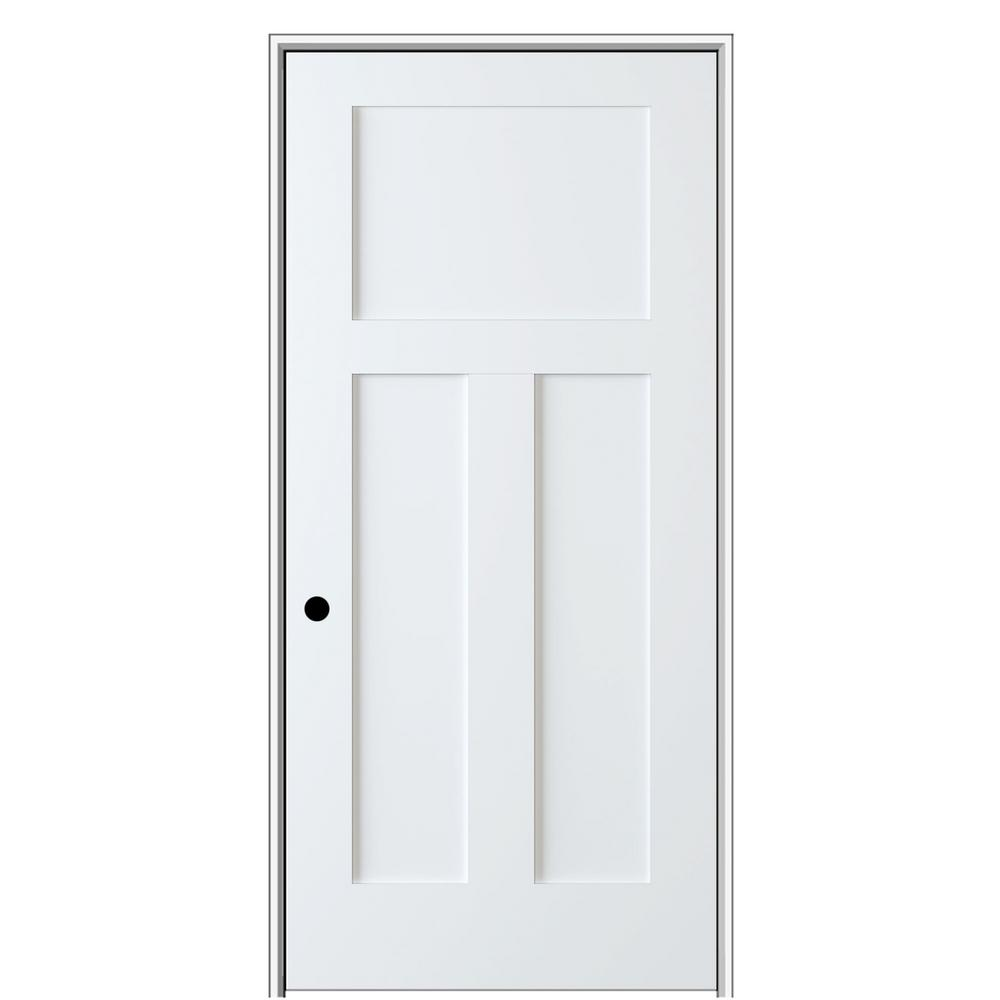 Shaker Flat Panel 18 in. x 80 in. Right Hand Solid Core Primed HDF Single Pre-Hung Interior Door with 4-9/16 in. Jamb