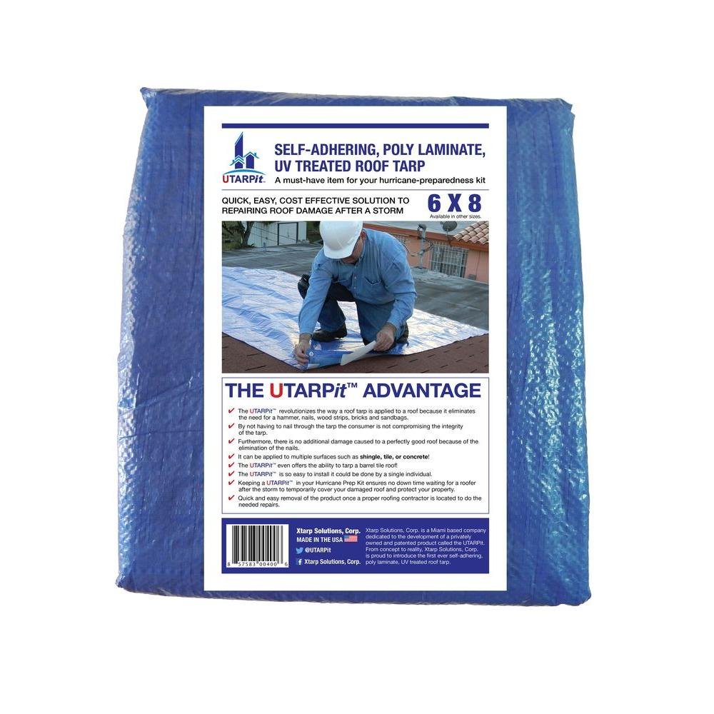 Utarpit 6 Ft X 8 Ft Blue Roofing Tarp Bt0608 The Home