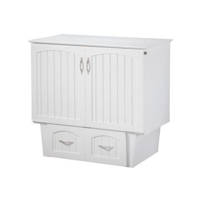 Nantucket Murphy Bed Twin White Chest with Charging Station and Coolsoft Mattress