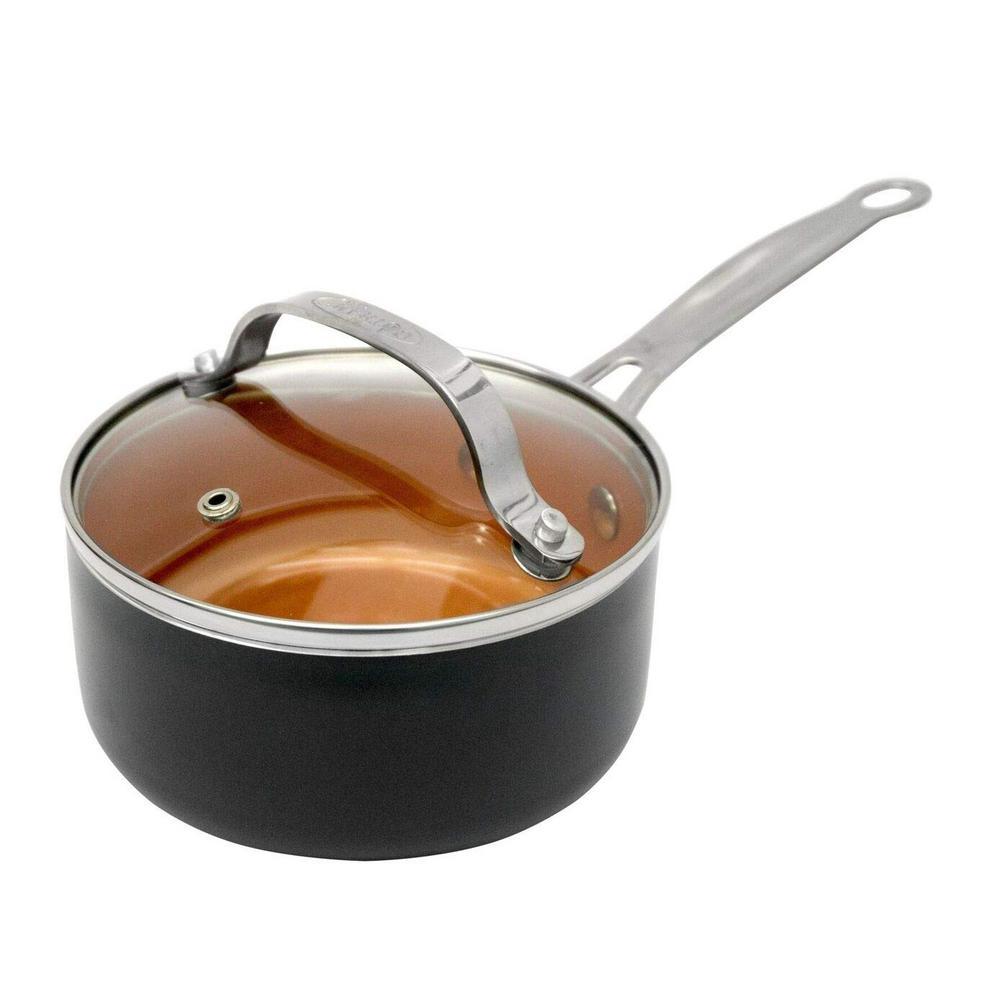2 Qt. Aluminum Ti-Ceramic Non-Stick Sauce Pan with Glass Lid