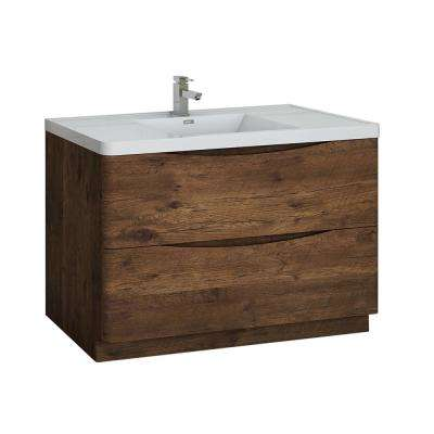 Tuscany 48 in. Modern Bath Vanity in Rosewood with Vanity Top in White with White Basin