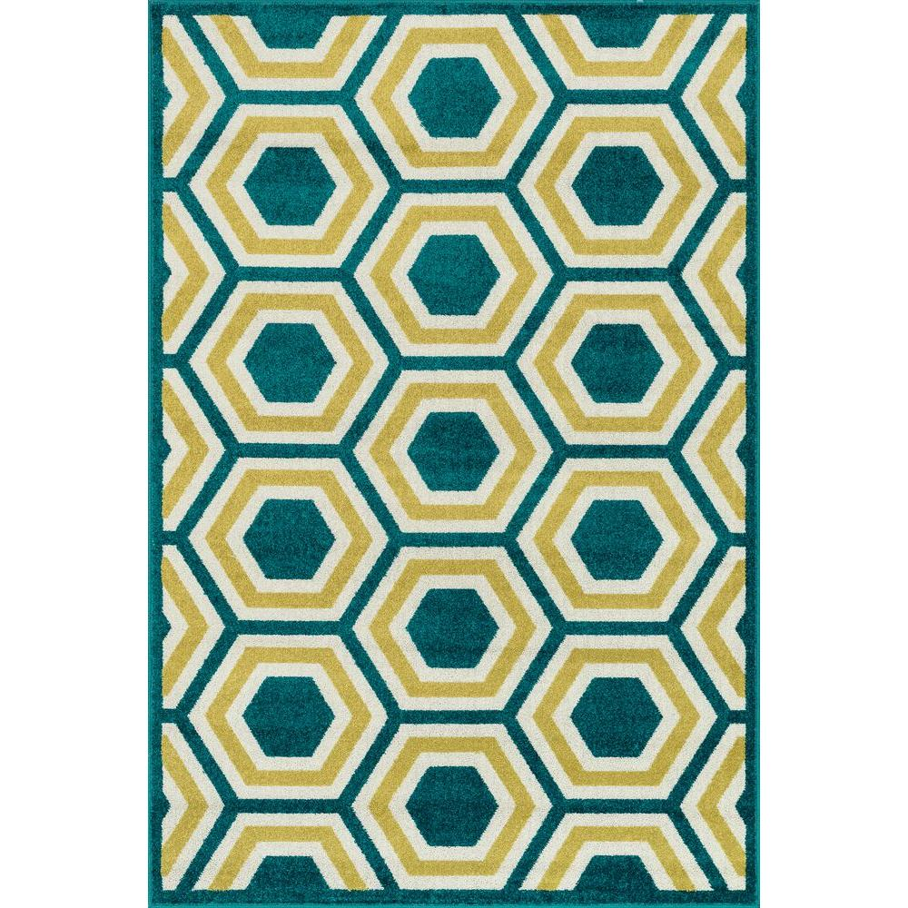 Catalina Lifestyle Collection Peacock/Citron 2 ft. 3 in. x 3 ft.