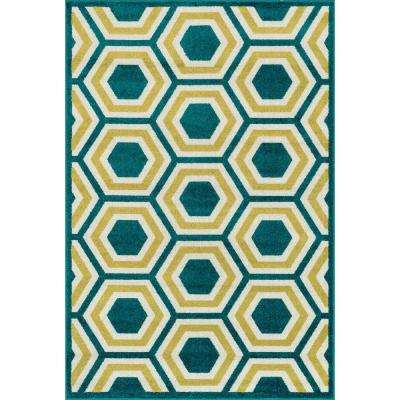 Catalina Lifestyle Collection Peacock/Citron 2 ft. 3 in. x 3 ft. 9 in. Area Rug