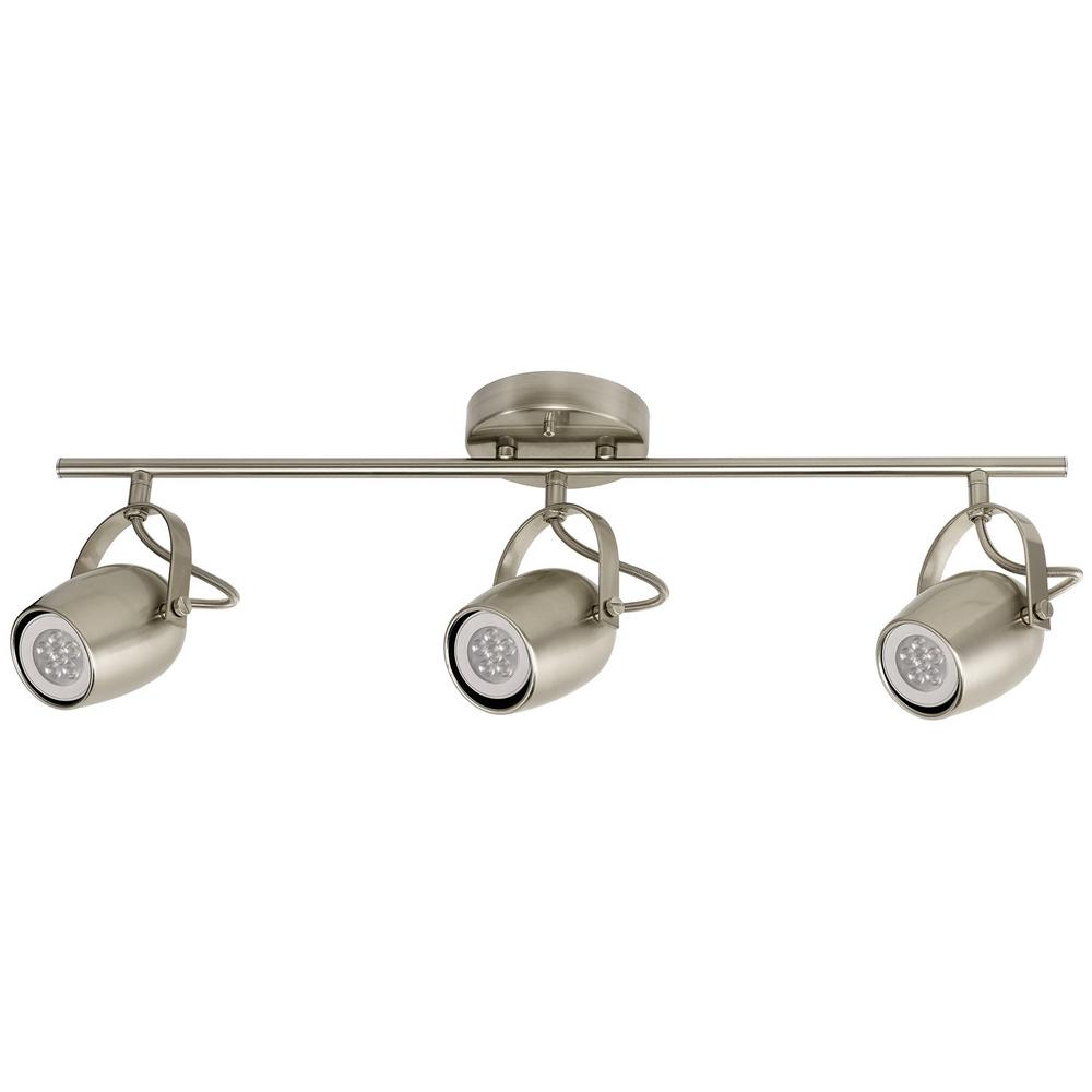 Globe Electric Samara Collection 3 Light Brushed Nickel Track Lighting With Dimmable 50 Watt