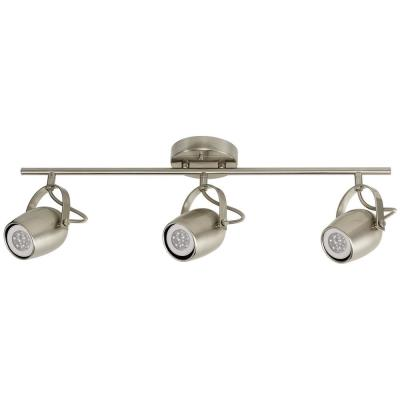 Samara Collection 3-Light Brushed Nickel Track Lighting with Dimmable 50-Watt LED GU10 Bulb Included