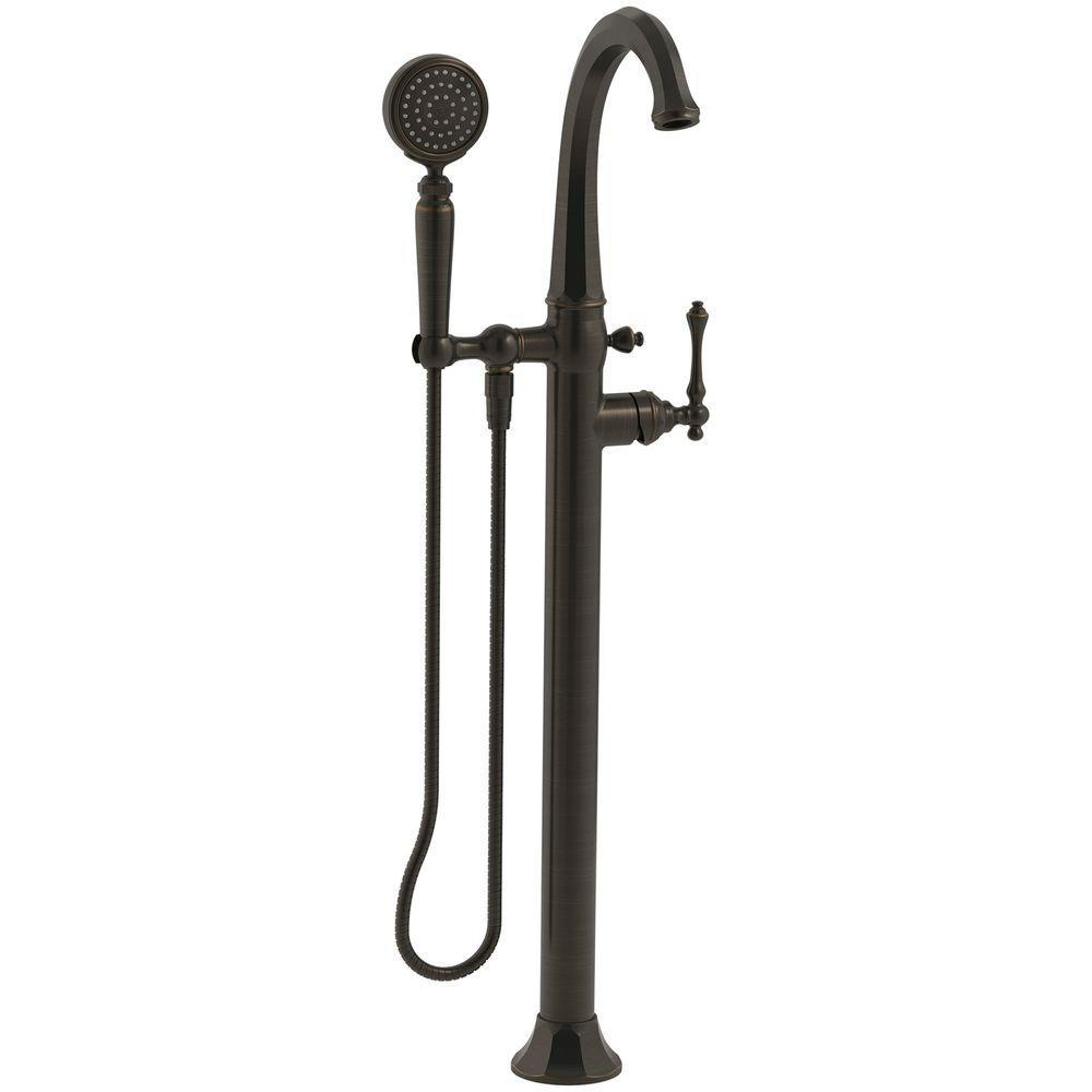 KOHLER Kelston 1-Handle Floor Mount Bath Filler with Hand Shower in ...