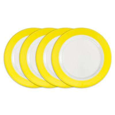 Bistro 4-Piece Yellow Melamine Dinner Plate Set