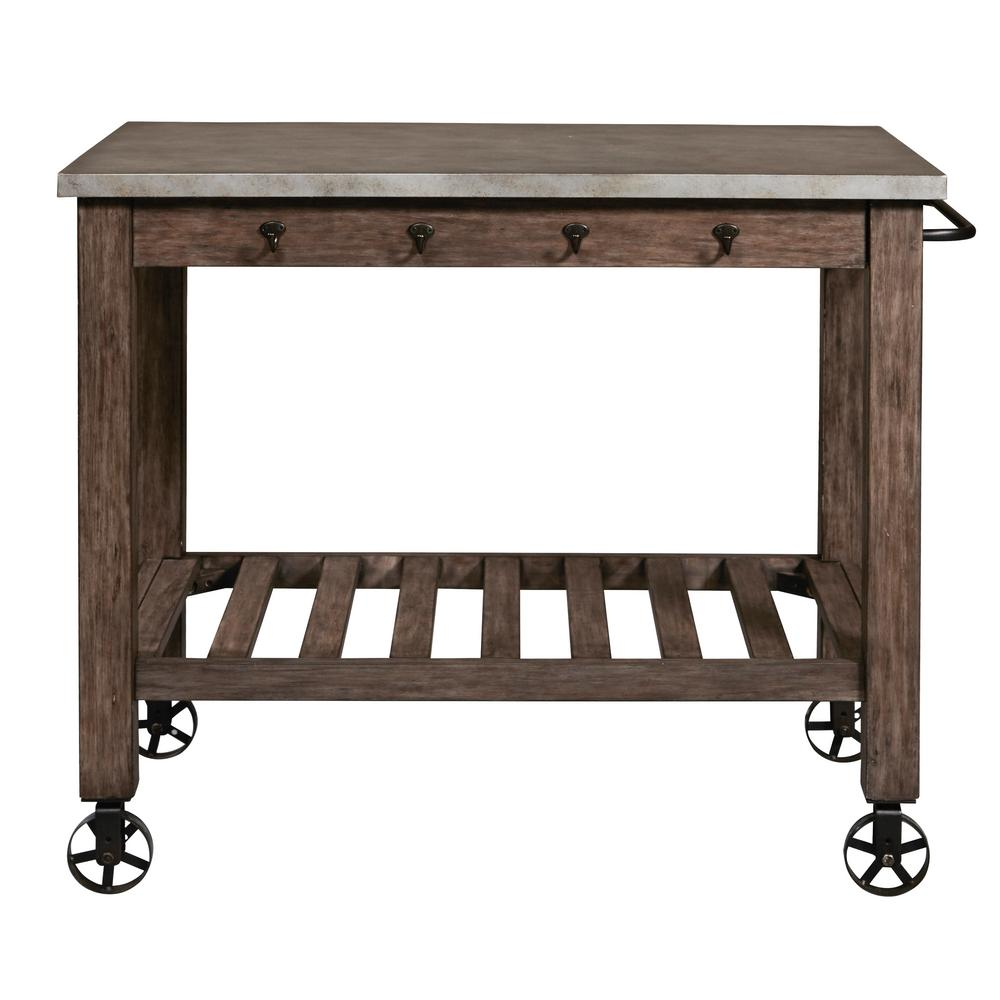 Right2Home Distressed Metal Wrapped Industrial Kitchen Island DS D153 800    The Home Depot