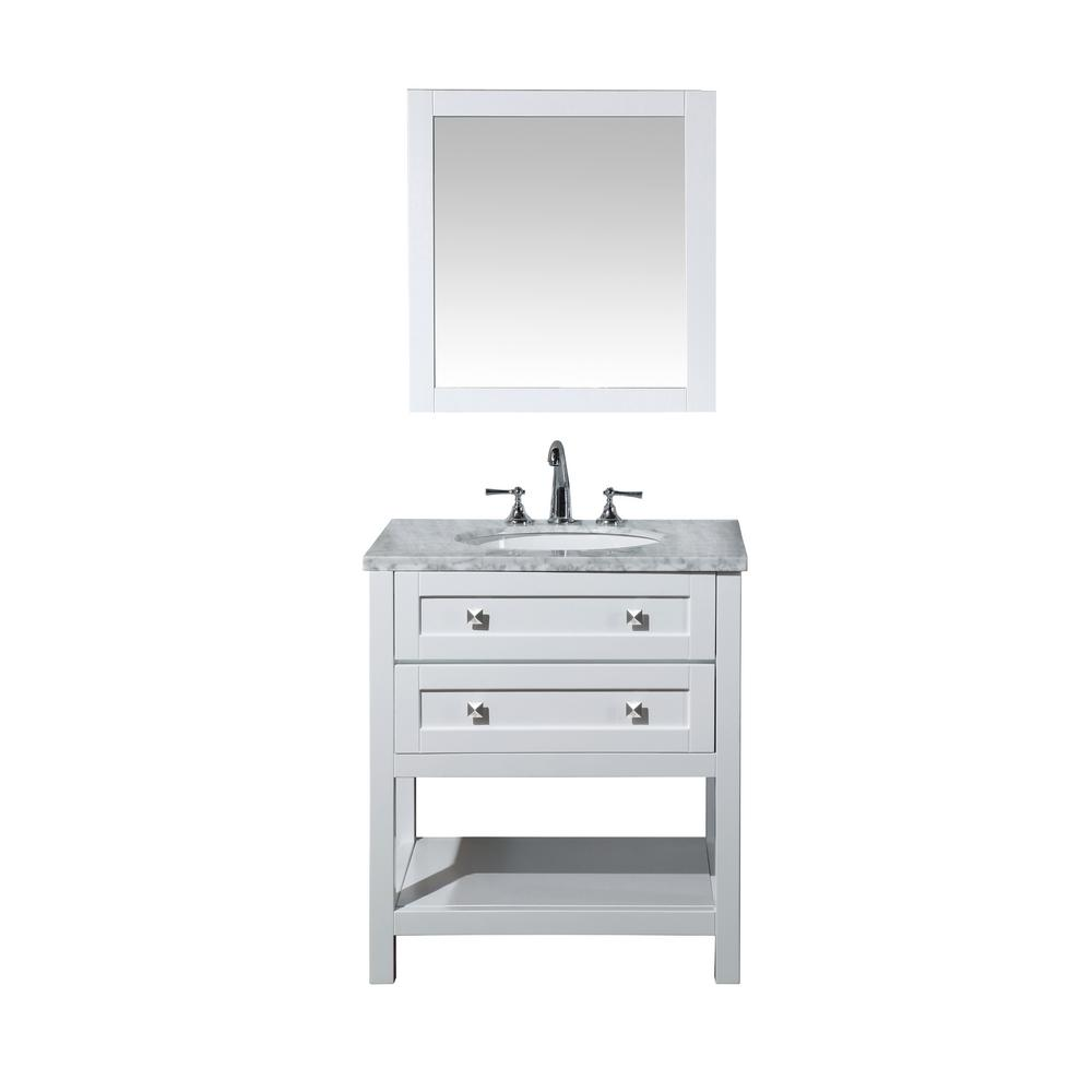 stufurhome Marla 30 in. W x 22 in. D Vanity in White with Marble Vanity Top in Carrara White and Mirror