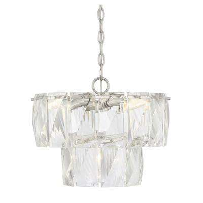 4-Light Polished Nickel Chandelier with Clear Accents
