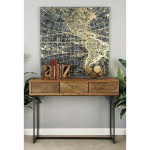 light brown wood and iron 3drawer console table