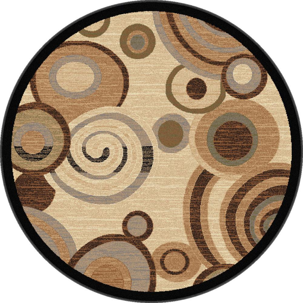 Tayse rugs festival beige 5 ft 3 in contemporary round for Modern round area rugs