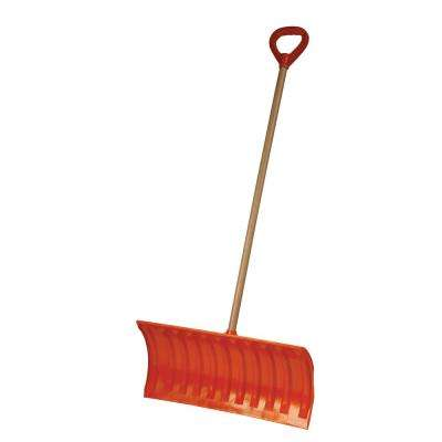 Bigfoot Series 25 in. Poly Pusher Snow Shovel with Wooden Handle