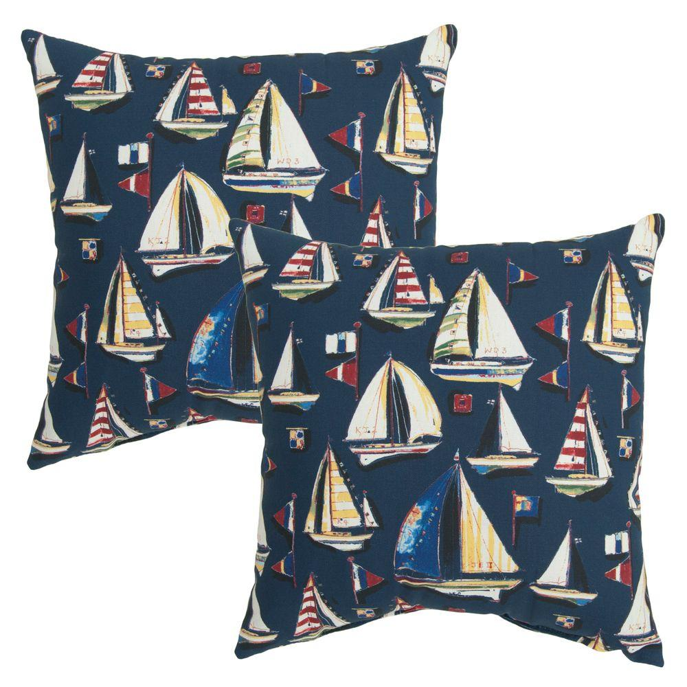 Hampton Bay 16 in. Sail Away Outdoor Toss Pillow (2-Pack)