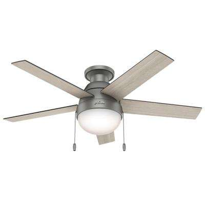 Anslee 46 in. Indoor Low Profile Matte Silver Ceiling Fan with Light